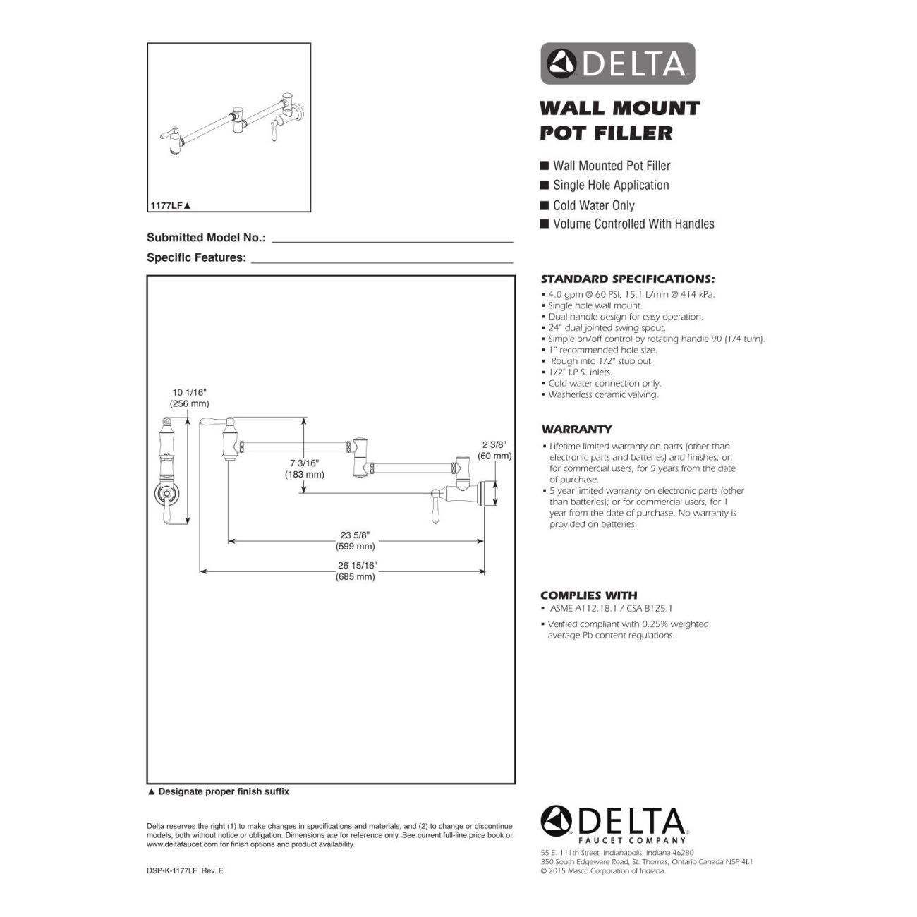 Delta Faucet 1177LF-SS Traditional Brilliance Stainless Pot Filler ...