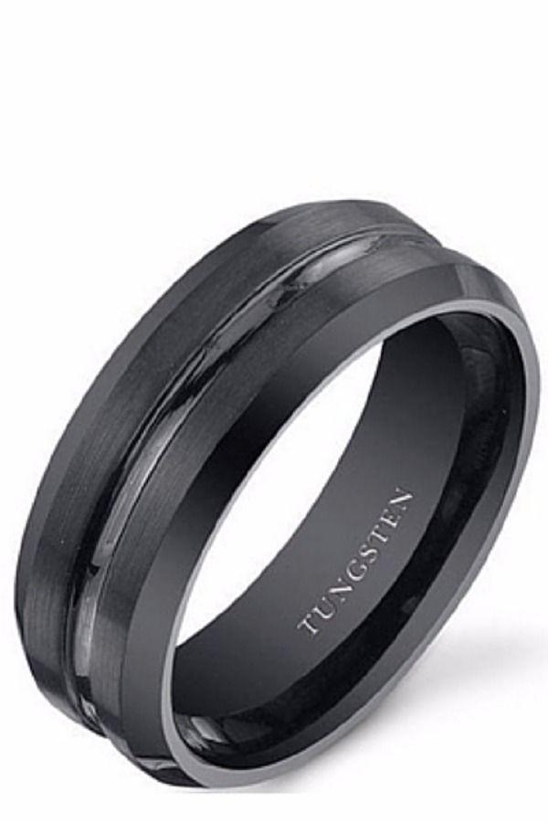 black striped groom wedding band