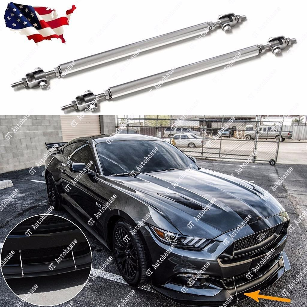 "11/"" SILVER Adjustable Front Bumper Lip Splitter Brace Rod Support Bar Universal"