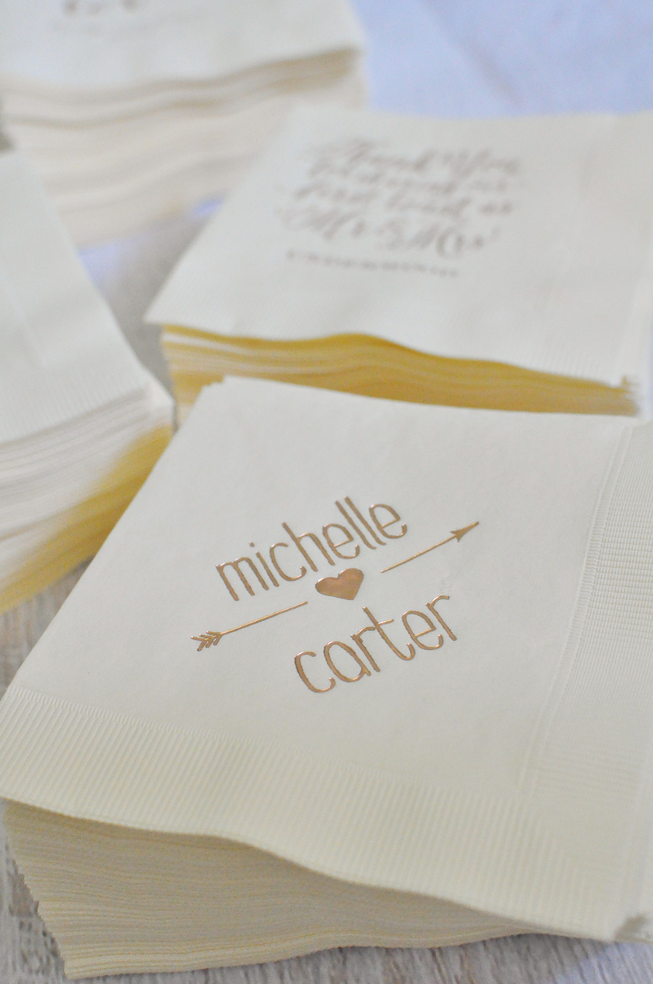 Personalized Napkins We Love Them Because A They Re Totally Affordable B Come In Million Color Combos C Three Words Rose