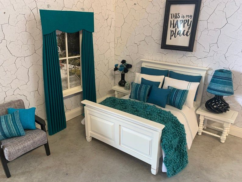 Handmade 1:12 scale dolls house 10 piece bedding set for a double bed deep teal and white
