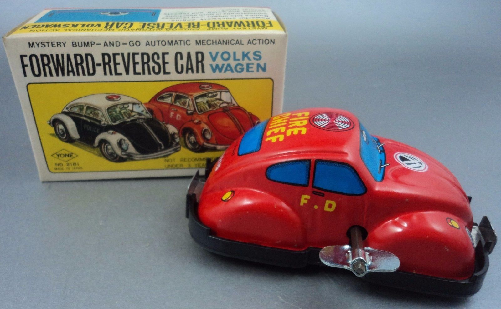 Tin Litho VOLKSWAGEN Fire Chief Car Forward Reverse Wind