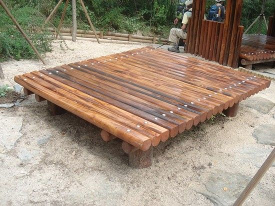 Wooden Platform Used As A Bench
