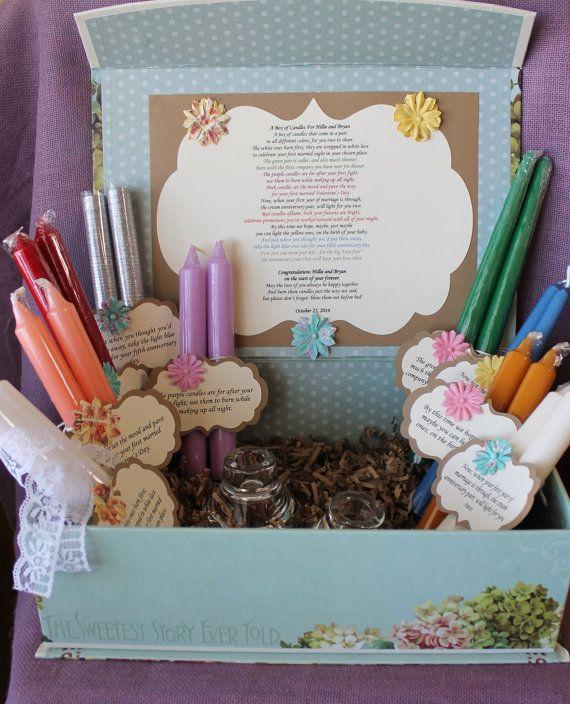 Thoughtful Wedding Gift Ideas: Wedding Shower Candle Poem Gift Set. Bridal Candle Basket