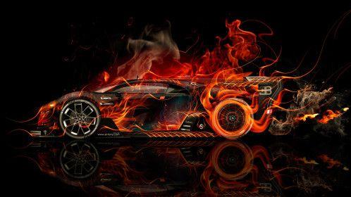 Bugatti Vision Gran Turismo Side Super Fire Flame Abstract Car