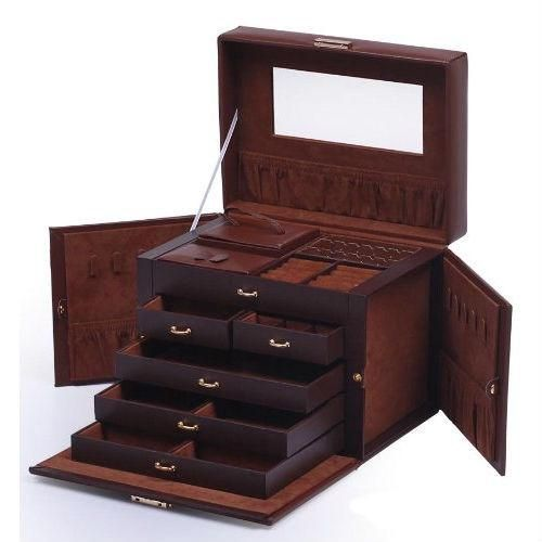 5Drawer Brown Leather Jewelry Box Organizer Storage Travel Case
