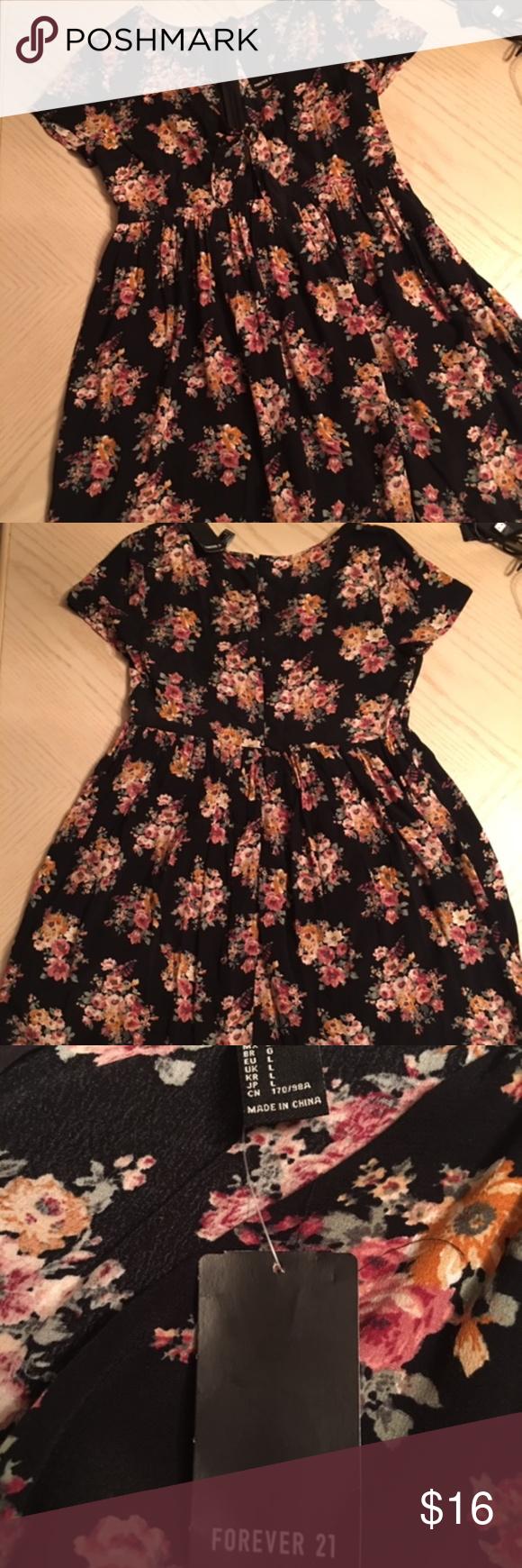 Forever 21 Black Floral Dress Size Large Nwt Floral Dress Black Dresses Large Size Dresses [ 1740 x 580 Pixel ]