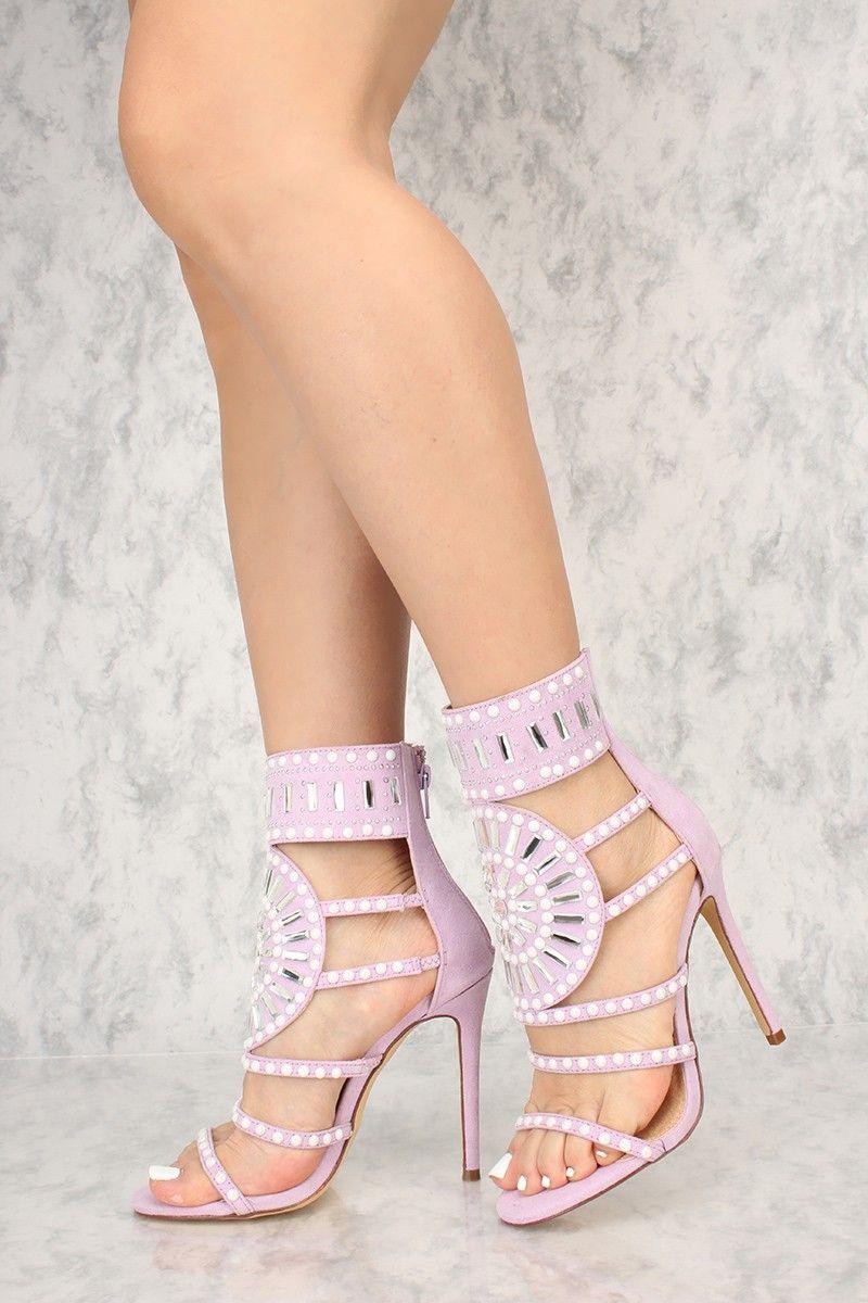 66a79e0547 Sexy Lavender Gemstone Pattern Open Toe Single Sole High Heels Faux Suede