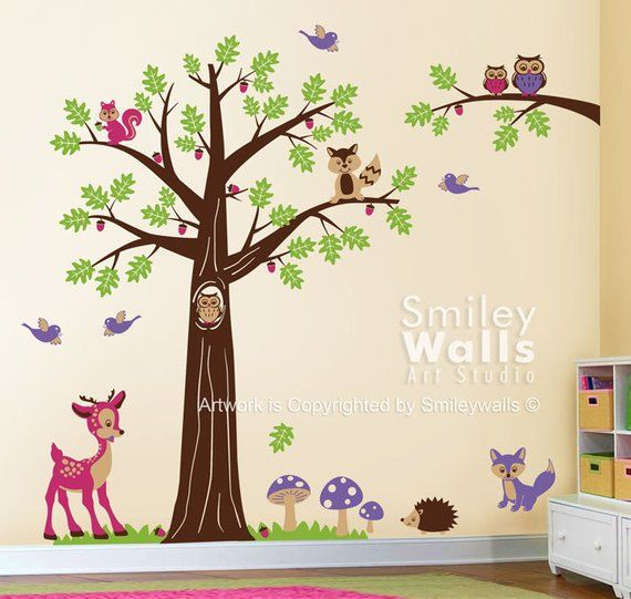 nursery wall decal, woodland forest animals wall decal, tree wall