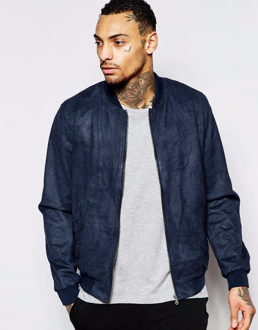 79498b919 classic Luxury custom navy faux suede bomber jacket men