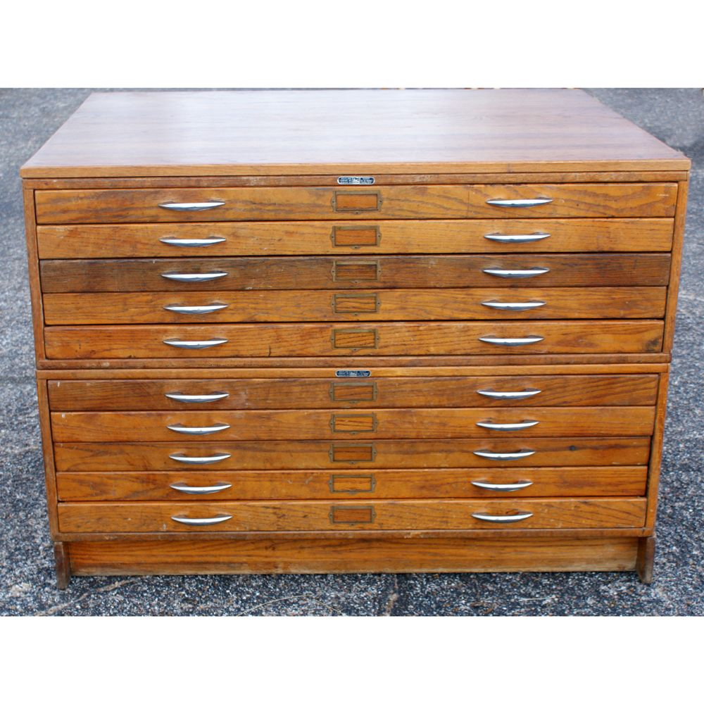 Vintage Mayline Wood 10 Drawer File Cabinet Ebay Wood Storage Cabinets Flat File Cabinet Vintage Filing Cabinet