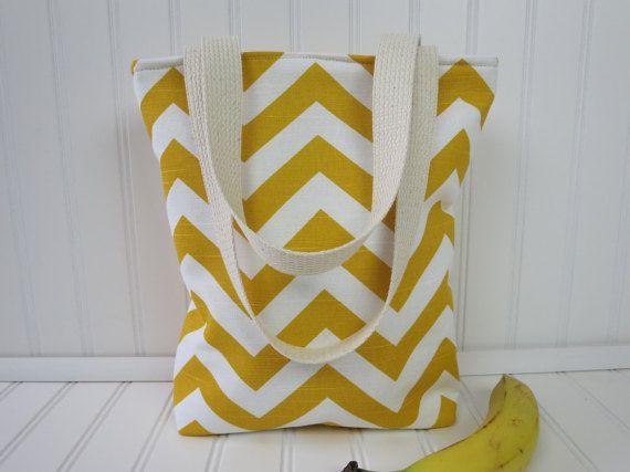 Lunch Bag - Lunch Tote - Insulated Lunch Tote - Mini Tote - Chevron Bag - Chevron Tote Bag