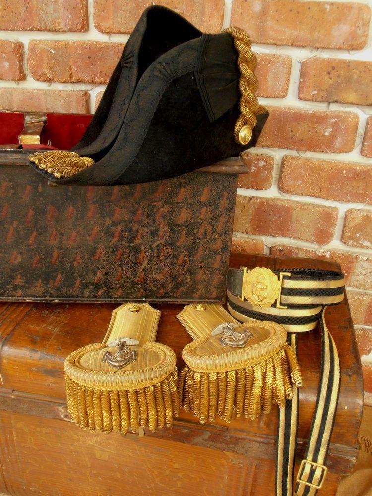 56a18b24242 Antique Royal Navy Officer s Bicorn Hat - Gilt Epaulettes - Gilt Sword Belt