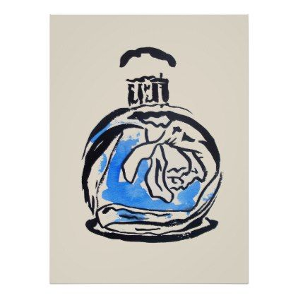 Perfume bottle fashion watercolour illustration poster - luxury gifts unique special diy cyo