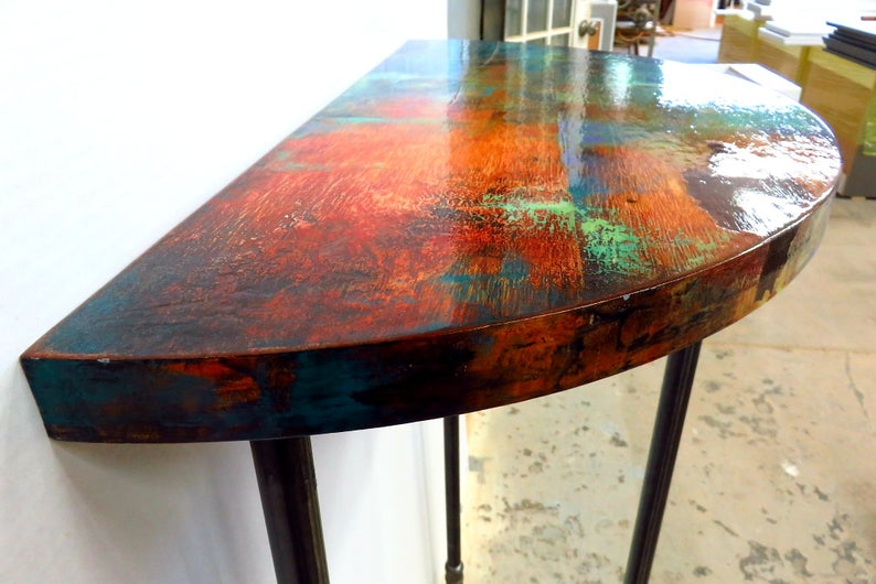 Metallic Half Round Entry Table Whimsical Painted Accent Etsy In 2020 Painted Accent Table Painted Dining Table Wood Accent Table