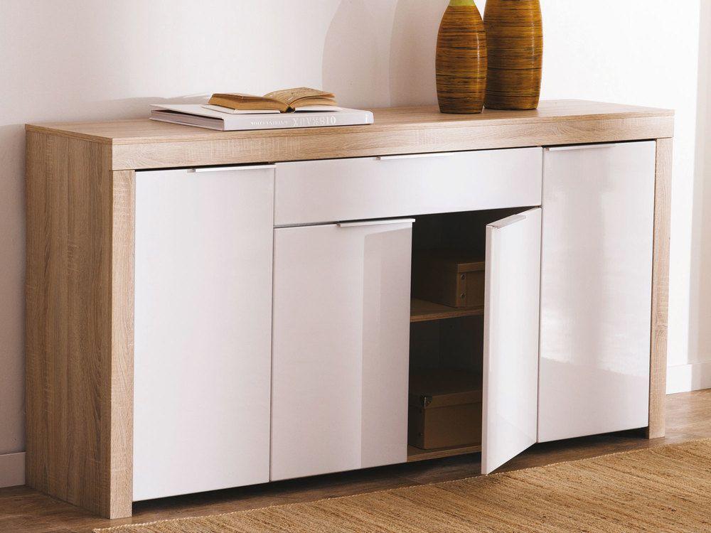 Buffet bas 4 portes 1 tiroir blanc et bois L1772 cm NAXIS Buffet