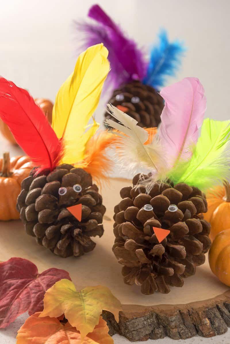 Easy Thanksgiving Pinecone Turkey Craft Turkey craft