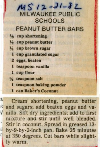 Milwaukee Public Schools Peanut Butter Bars Historic Recipe Peanut Butter Bars Peanut Butter Bars School Peanut Butter Recipes