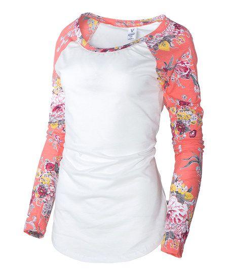 Venley White & Coral Floral-Sleeve Raglan Tee | zulily
