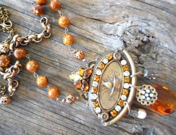 Vintage Handmade Statement Amber Brass Drawer Pull Pendant Necklace Agate  Beads…