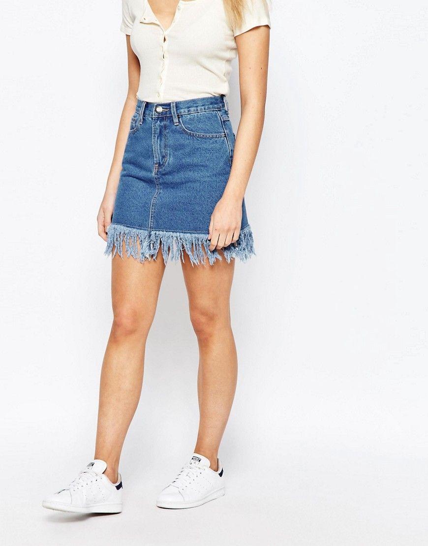 Boohoo Frayed Hem Denim Skirt | Skirts, Denim skirts and Of