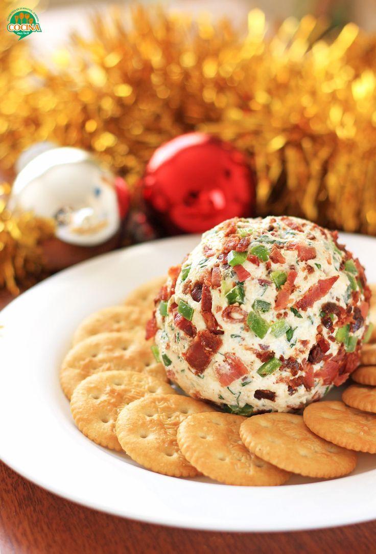 Bola de queso con tocino y jalape o receta para navidad - Comida para navidad facil ...