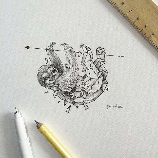 Paresseux dessin animaux pinterest paresseux animaux geometrique et dessin - Tatouage geometrique animaux ...