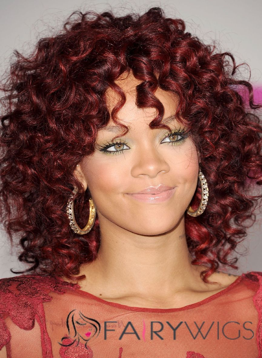 Outstanding Medium Red Lace Front Celebrity Hairstyle
