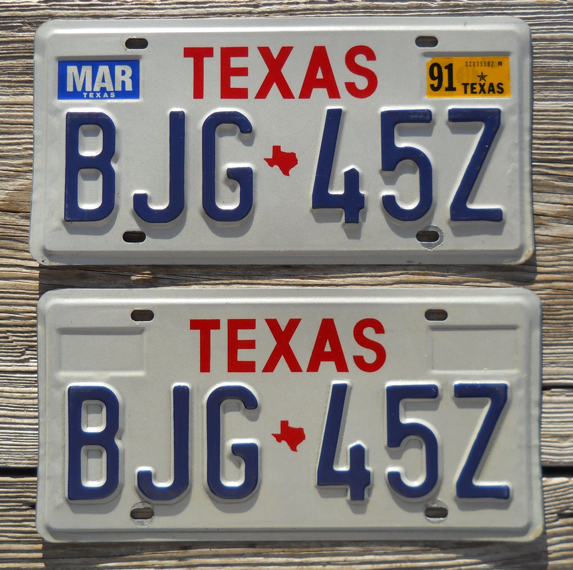 1991 Texas Passenger license plates. Correct plates for year 1991 ...