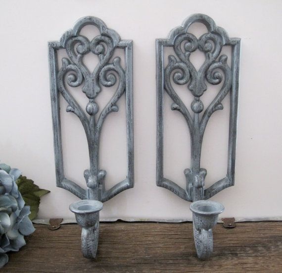 Gray Candle Holders Vintage HOMCO Wall Decor by ... on Vintage Wall Sconce Candle Holder Decorating Ideas id=60385