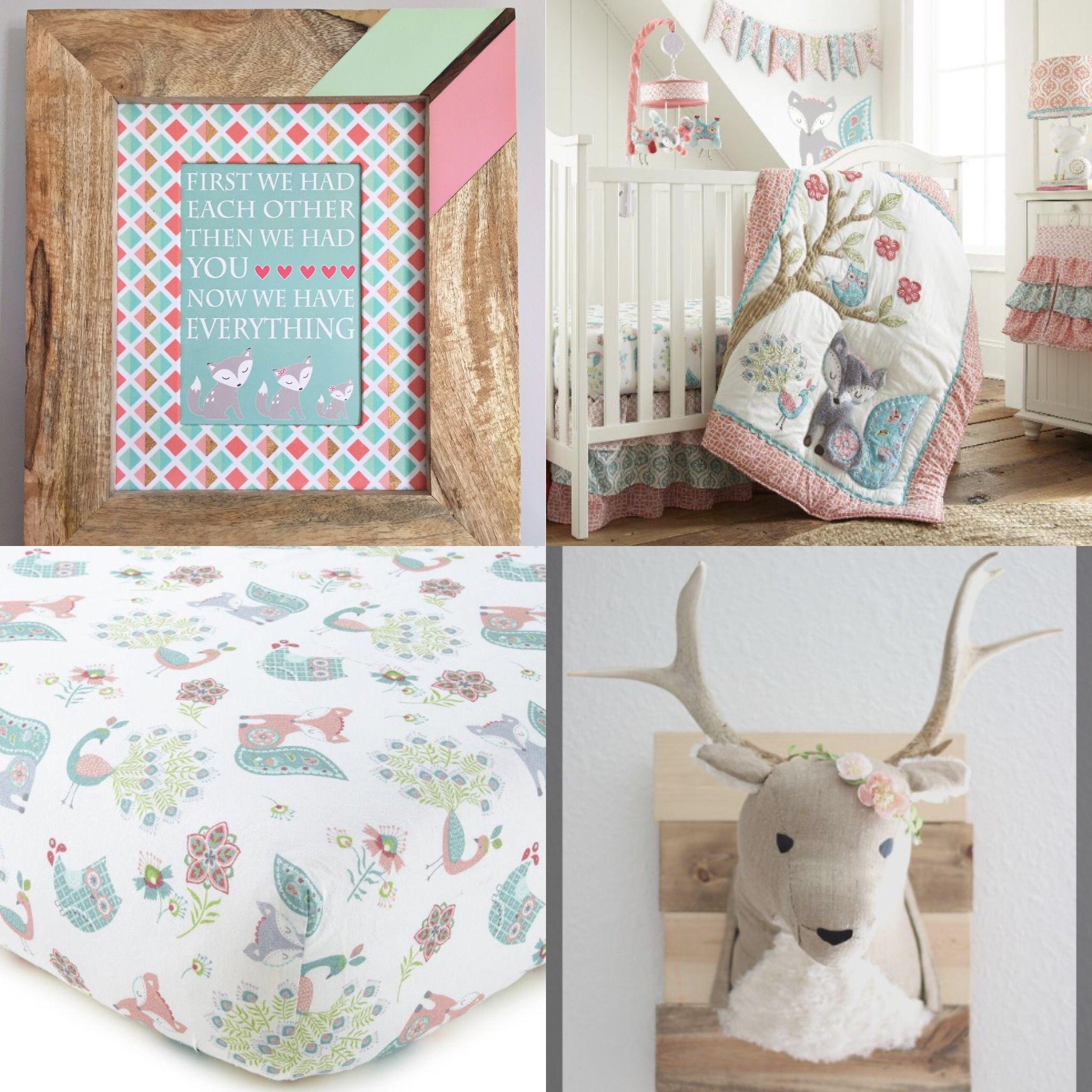 Baby Girl Fox Nursery Print Boho Nursery Wall Decor Girl