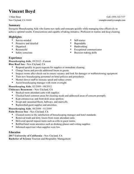 Resume Example Housekeeping Free Cover Letter Templates Template