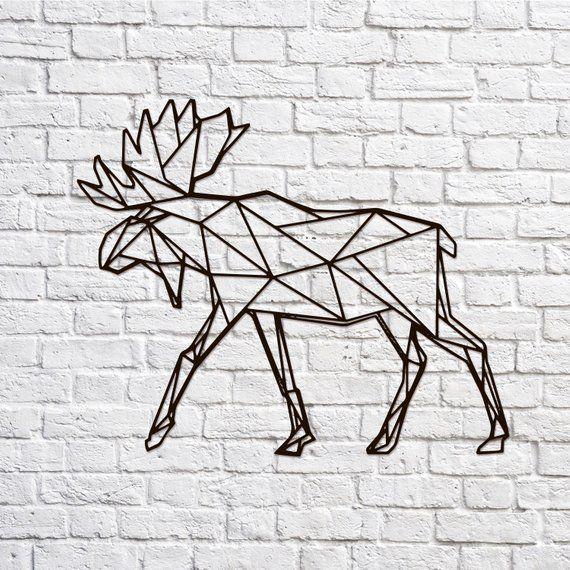 Metal Wall Art Moose Geometric Animal Home Decor Sign Wall Etsy Moose Wall Art Geometric Animals Polygon Art