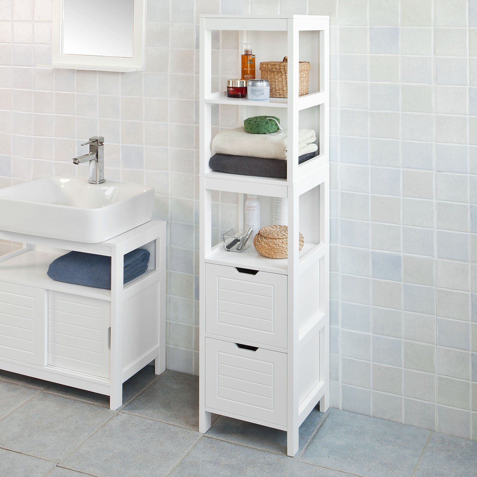 Haotian White Floor Standing Tall Bathroom Storage Cabinet With
