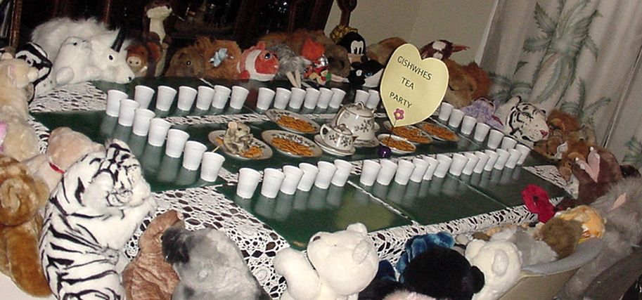 #127.  A tea party with at least 50 stuffed animals.  (13 points)
