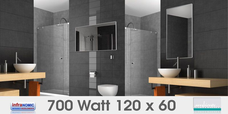 Infrarot Spiegelheizungen Bad 700 Watt 120x60 Spiegelheizung Infrarotheizung Led Licht