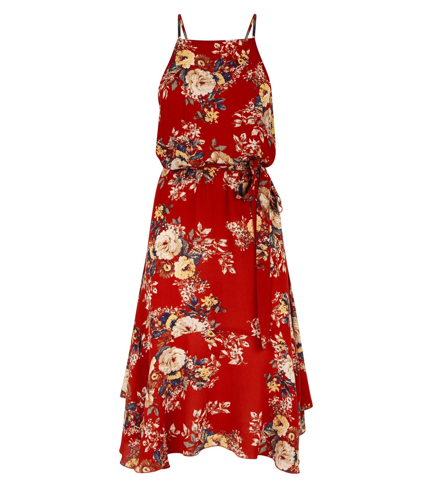 848d646e26f9 Red Floral Print Hanky Hem Midi Dress