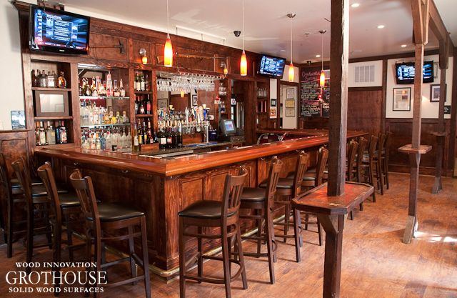 Awesome Custom Mahogany Wood Bar Top With Chicago Bar Rail, Also With Durata®  Finish, For A Commercial Tavern In Yardley, Pennsylvania By Grothouse