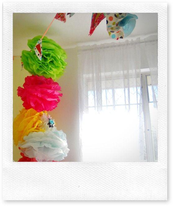 craft room tissue poms to hide a corner