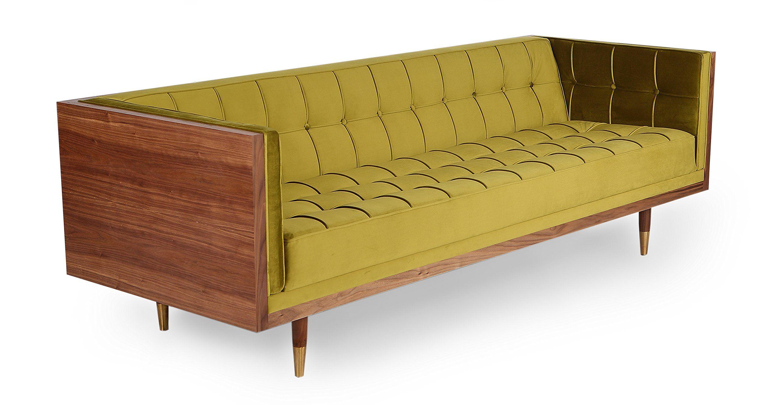 Awe Inspiring Kardiel Woodrow Midcentury Modern Box Sofa Olive Velvet Cjindustries Chair Design For Home Cjindustriesco