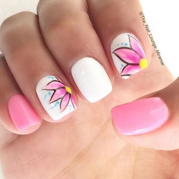 50 pink nail art designs spring nail art pink flowers and pink prinsesfo Image collections