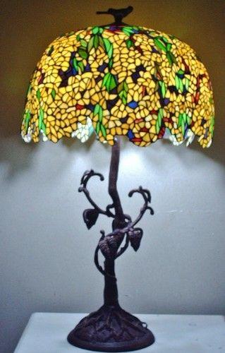 Attractive Large 40u0027u0027 Tiffany Style Wisteria Laburnum Tree Vine Base Stained Glass Lamp  | EBay