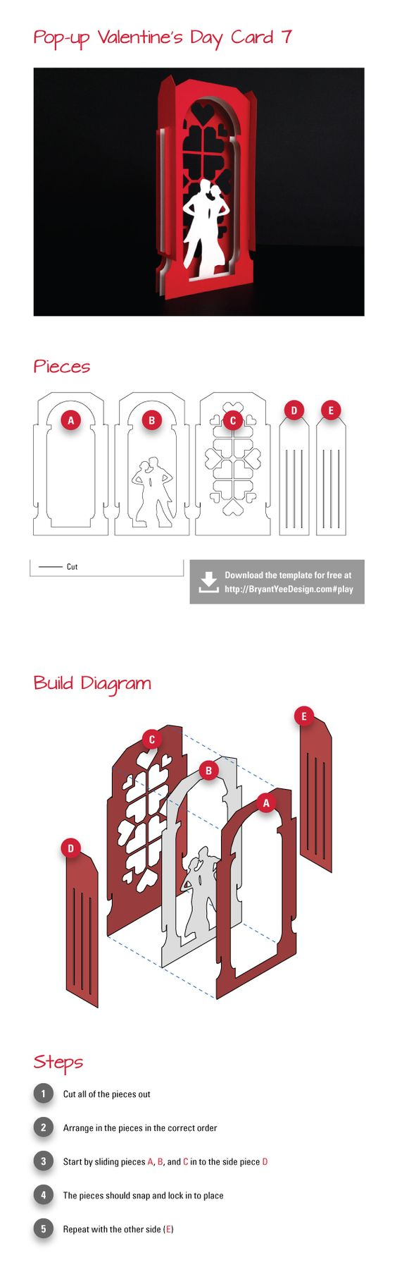 Diy Valentine Day 3d Card Kirigami Pattern Paper Pop Pop Up Cards Paper Engineering