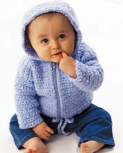 Patrones Crochet, Manualidades y Reciclado: Jersey Con Capucha Para Bebé Paso a Paso Con Vídeo...