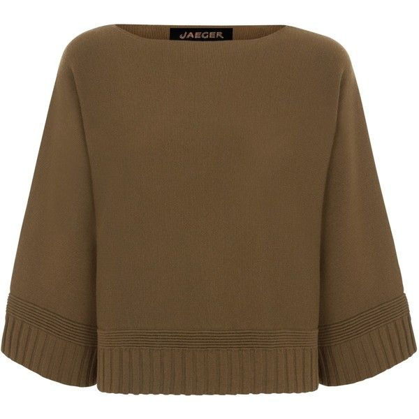 Jaeger Wool Cape Sweater Khaki Cape Sweater Sweaters Wool Cape