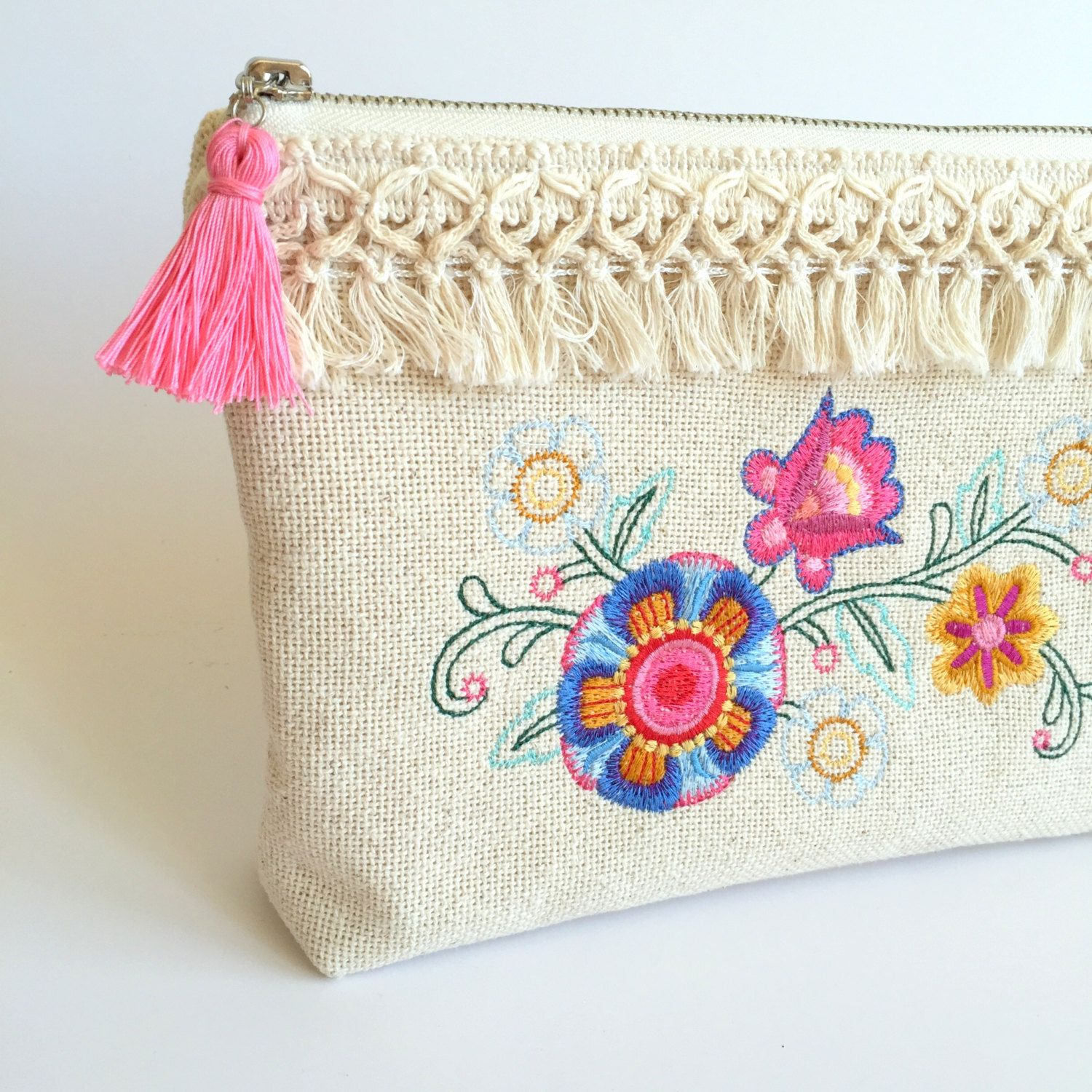 Cosmetic Bag (Medium)** - White Waffle Weave, Embroidered