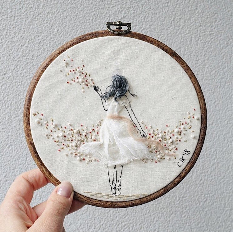 3D Embroidery of Floral Females With Hair and Dresses Flowing Off the Hoop