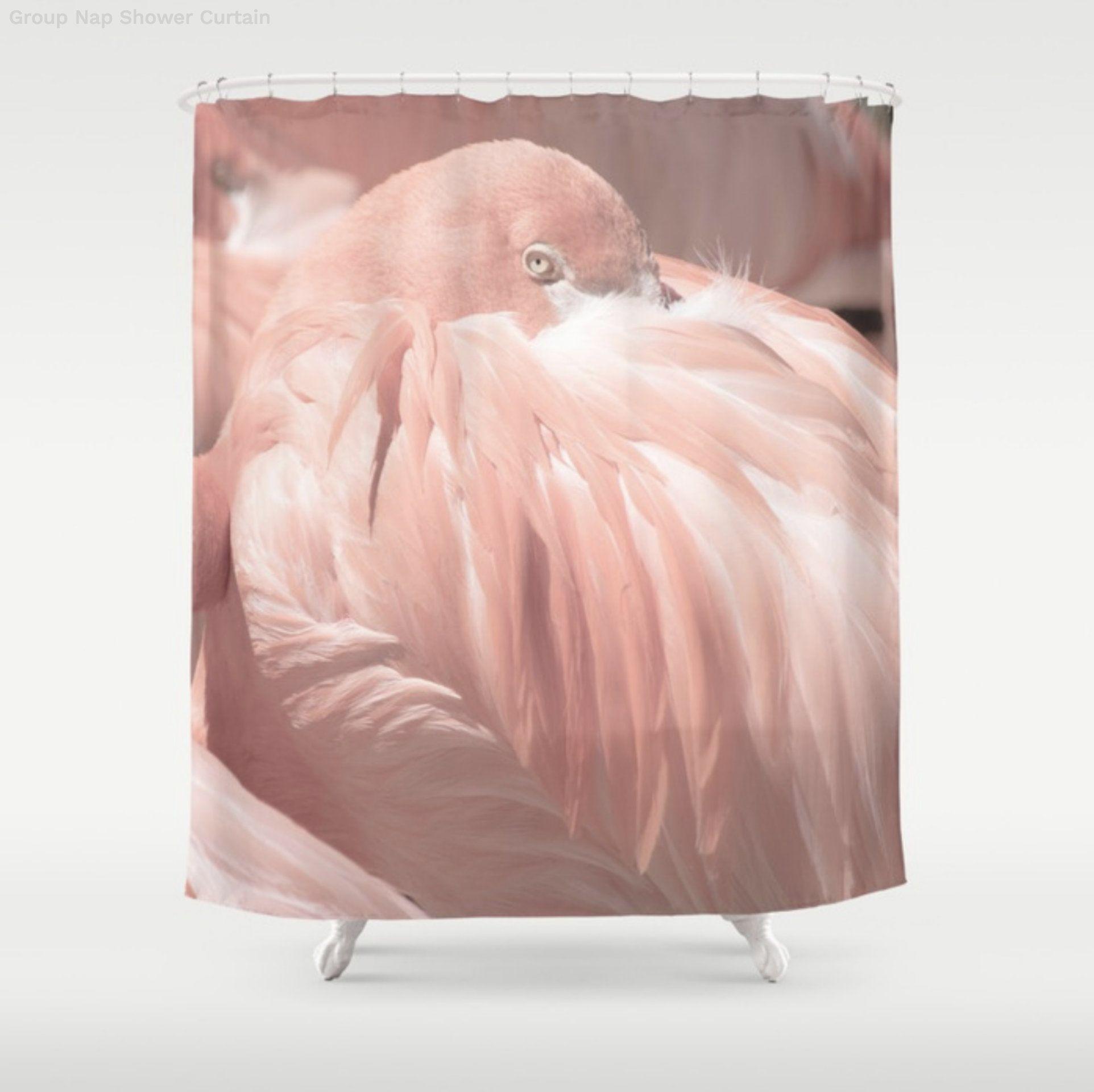 Pale Pink Flamingo Shower Curtain Tropical Bathroom Light Salmon