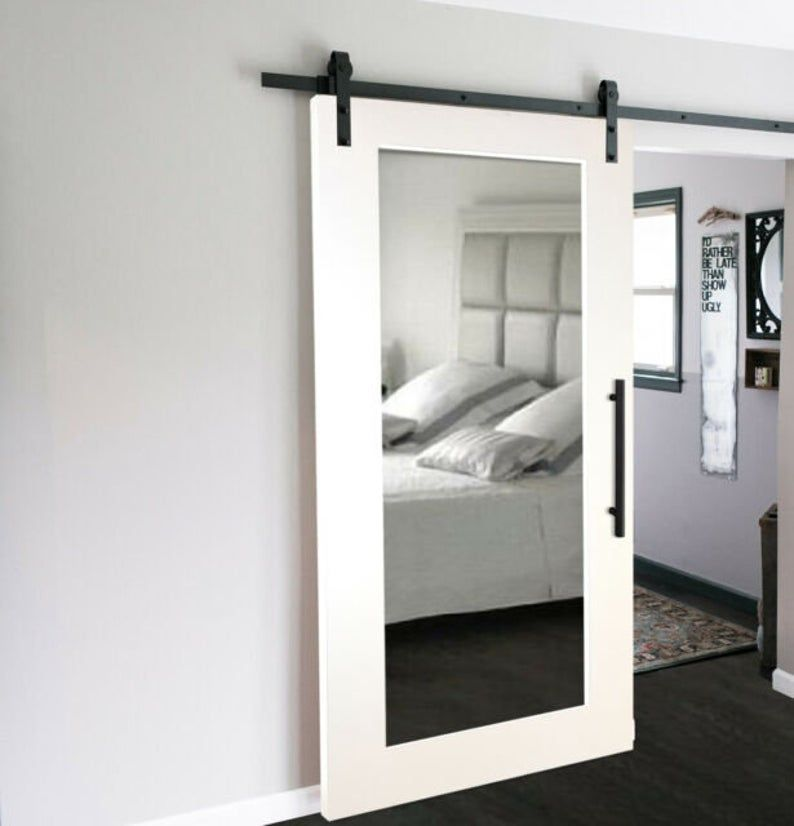Custom Framed Front Mirror Sliding Barn Door Modern Farmhouse Sliding Barn Door Door Only Ask For Shipping In 2020 Glass Barn Doors Barn Door Closet Interior Barn Doors