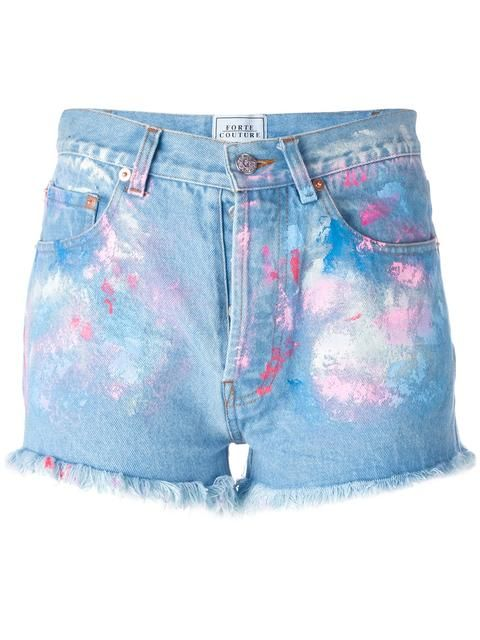 FORTE COUTURE Painted Denim Shorts. #fortecouture #cloth #shorts